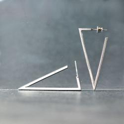srebrne kolczyki wkrętki,geometryczne kolczyki - Kolczyki - Biżuteria