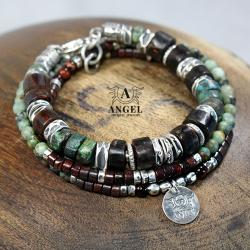 bransoleta męska z surowych bursztynów,prezent - Dla mężczyzn - Biżuteria
