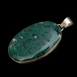 agat,zielony,maszysty,minerał,retrosrebro,szarości - Wisiory - Biżuteria