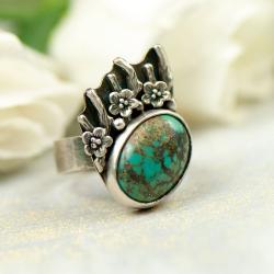 pierścionek z turkusem,srebrny,prezent dla niej - Pierścionki - Biżuteria