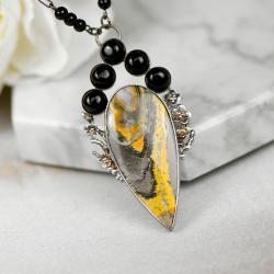 naszyjnik ze srebra,unikat,żólty kamień - Naszyjniki - Biżuteria