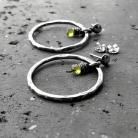 Kolczyki koła,srebrne,zielone,peridot