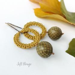 wiszące kolczyki koła makrama,soft things - Kolczyki - Biżuteria