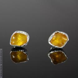 bursztyn,sztyfty,drobne,żółte,delikatne - Kolczyki - Biżuteria