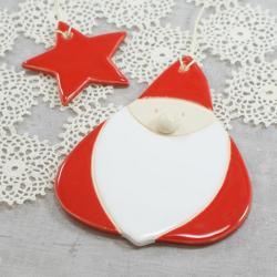 Święty Mikołaj,Gwiazdor,zawieszka - Ceramika i szkło - Wyposażenie wnętrz