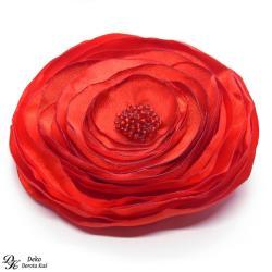 broszka,satyna,kwiatowa,czerwona,duża - Broszki - Biżuteria