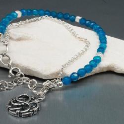 bransoletka z agatem,wire wrapping,turkus,agat - Bransoletki - Biżuteria