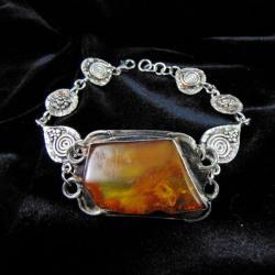 Bransoletka srebrna z bursztynem - Bransoletki - Biżuteria