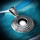 Wisiory srebrna zawieszka,oksydowany wisiorek z perłą