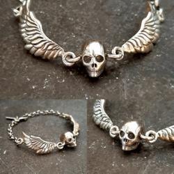 zahario,czaszka,smierc,smiertelnnosc,skrzydla, - Bransoletki - Biżuteria