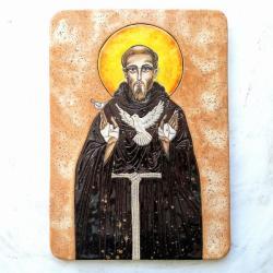 Beata Kmieć,ikona ceramiczna,św. Franciszek - Ceramika i szkło - Wyposażenie wnętrz