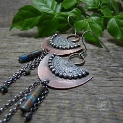 boho,bohema,mandala,długie - Kolczyki - Biżuteria
