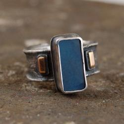 pierścionek ze srebra i złota z labradorytem - Pierścionki - Biżuteria