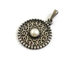 perła,medalion,wisior - Wisiory - Biżuteria