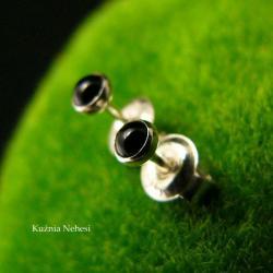 nehesi,kolczyki,srebrne,srebro,sztyfty,onyksem - Kolczyki - Biżuteria
