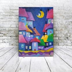 miasteczko,obraz,akryl,koty - Obrazy - Wyposażenie wnętrz