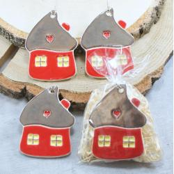 domek,ozdoba choinkowa,zawieszka - Ceramika i szkło - Wyposażenie wnętrz