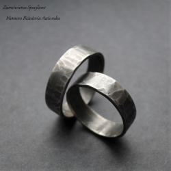 srebro,oksydowane,surowe,młotkowane - Pierścionki - Biżuteria