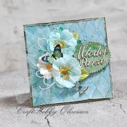 ślub,kartka,ślubna,kwiaty,motyle,tiul - Kartki okolicznościowe - Akcesoria