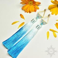 boho,na lato,chwosty,długie,geometryczne,niebieski - Kolczyki - Biżuteria
