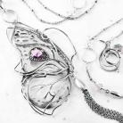 Naszyjniki srebrny,naszyjnik,wire-wrapping,motyl,ametyst,ciba