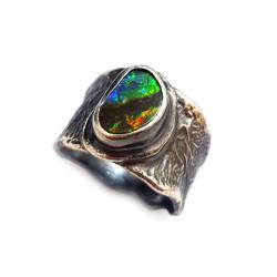 Surowy pierścień,ammolit,srebrny,muszla,szlachetny - Pierścionki - Biżuteria