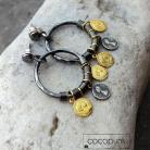 Kolczyki z zawieszkami,z monetkami,koła,modne