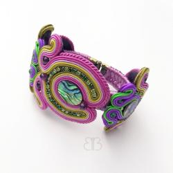 sutasz,bransoleta,fioletowa,zielona,duża - Bransoletki - Biżuteria