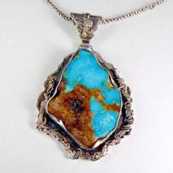 wisior srebrny z turkusem - Wisiory - Biżuteria