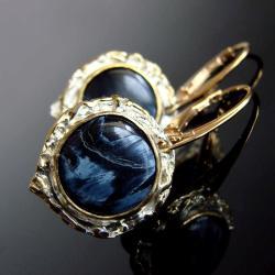 pietersite,srebro,srebro złocone,sztyfty,Unika - Kolczyki - Biżuteria