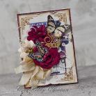 Kartki okolicznościowe urodziny,vintage,kwiaty,motyl