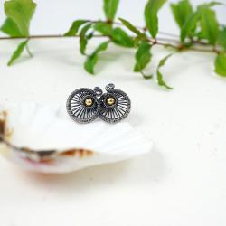 minimalistyczne srebrne kolczyki sztyfty pozłacane - Kolczyki - Biżuteria