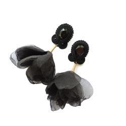 kolczyki soutache,kolczyki z kwiatami - Kolczyki - Biżuteria