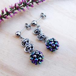 kolorowe,lekkie,chainmaille,stal - Kolczyki - Biżuteria