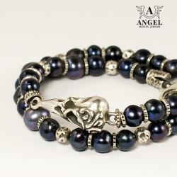 bransoleta z pereł,czaszka ptaka - Bransoletki - Biżuteria