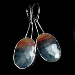 szafiry,srebrne,długie,pejzaże,faset,blask,bordo, - Kolczyki - Biżuteria