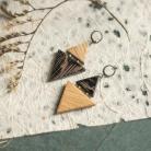 Kolczyki trójkąt kolczyki,dreweniane kolczyki,drewno