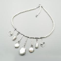 kolia ze srebra i pereł - Naszyjniki - Biżuteria