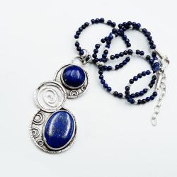 Srebrny wisior z lapis lazuli - Wisiory - Biżuteria