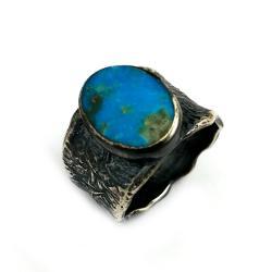 turkus,srebrny,szarości,sygnet,retro,błękit, - Pierścionki - Biżuteria