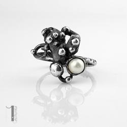 pierścionek srebrny,perła słodkowodna,boho - Pierścionki - Biżuteria
