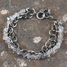 Bransoletki srebrny łańcuch z kryształem herkimer