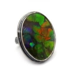 ammolit,srebrny,fiolet,perła,srebro,zieleń,jesień - Pierścionki - Biżuteria