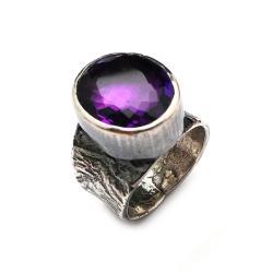 pierścień ametyst,okazały,srebrny,blask,fioletowy, - Pierścionki - Biżuteria