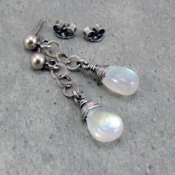 krople,wiszące,tęczowe,bajkowe,na łańcuszku - Kolczyki - Biżuteria