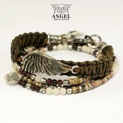 bransoleta z rzemieni,skrzydło anioła - Bransoletki - Biżuteria
