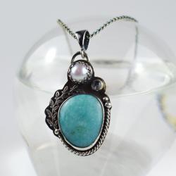 naszyjnik,wisior,niebieski,romantyczny,srebrny - Naszyjniki - Biżuteria