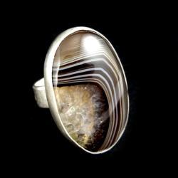 agat,srebrny,szary,brazy,zimowy,srebro,regulowany - Pierścionki - Biżuteria