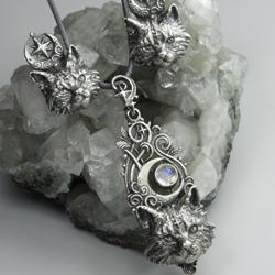 koty,srebrny kot,srebrne kotki,kolczyki koty - Komplety - Biżuteria