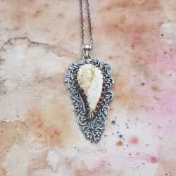 srebrny,naszyjnik,z mlecznym bursztynem - Naszyjniki - Biżuteria